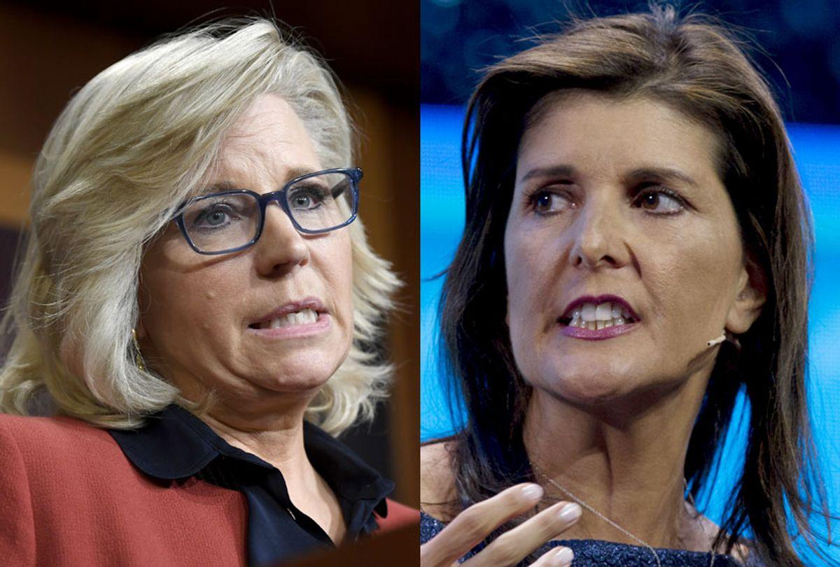 Rep. Liz Cheney (R-WY); Former Ambassador to the U.N. Nikki Haley (AP/Susan Walsh/Jose Luis Magana)