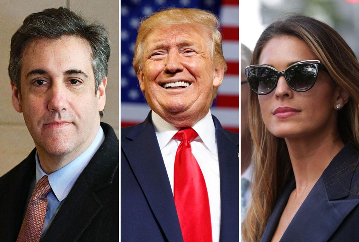 Michael Cohen; Donald Trump; Hope Hicks (AP/Getty)