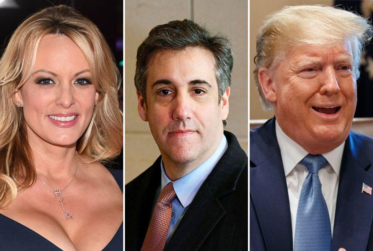 Stormy Daniels; Michael Cohen; Donald Trump (AP/Getty)