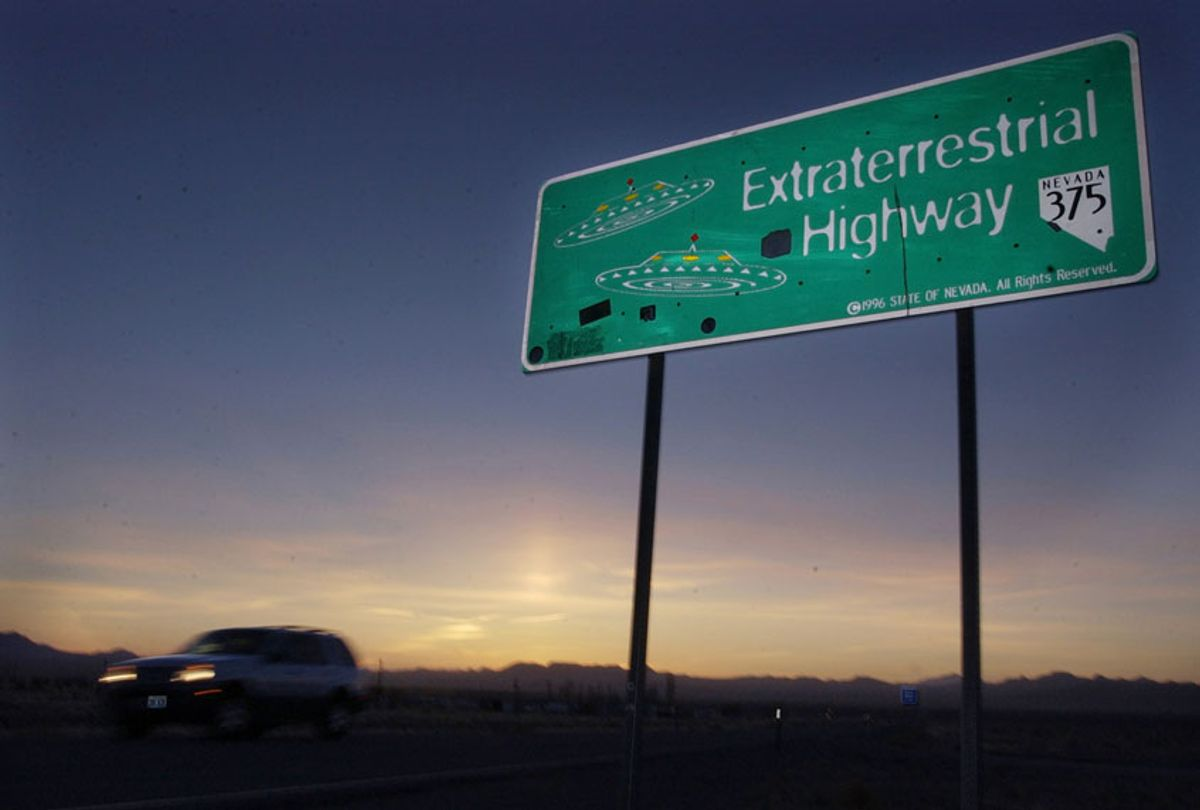 The ET highway was established by the Nevada Legislature in 1996 and runs along the eastern border of Area 51. (AP/Laura Rauch)