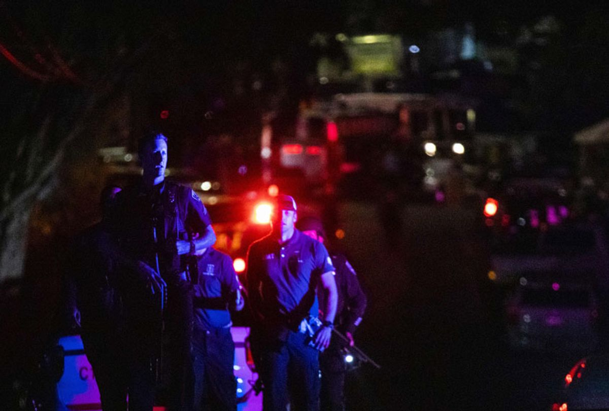 Police officers leave the scene of the investigation following a deadly shooting at the Gilroy Garlic Festival in Gilroy, 80 miles south of San Francisco, California on July 28, 2019.  (Getty/Philip Pacheco)