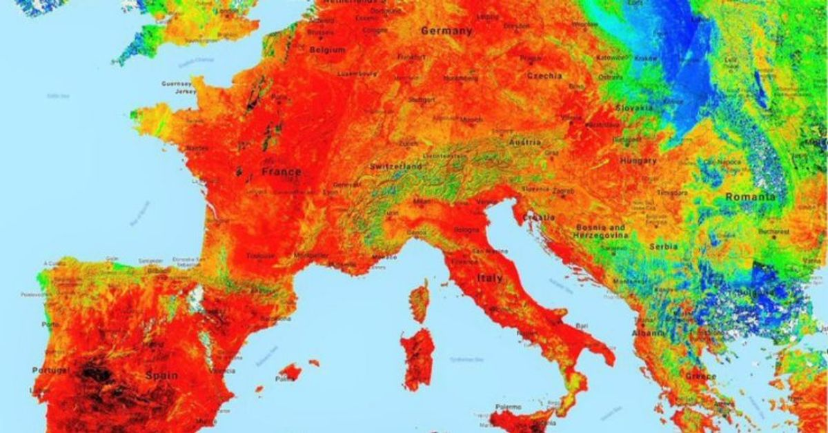 Record high temperatures were recorded across Western Europe on Thursday. (Copernicus Emergency Management Service)