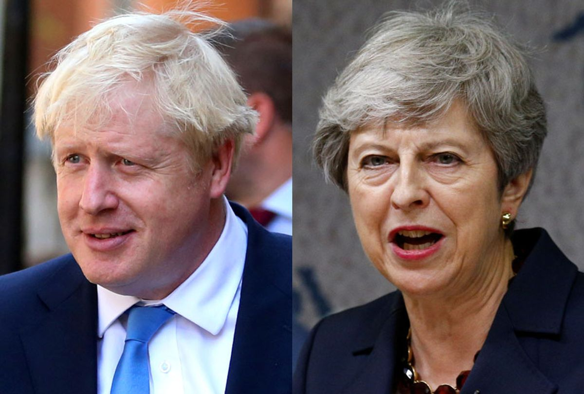 Boris Johnson; Theresa May (Getty/Isabel Infantes/Henry Nicholls)