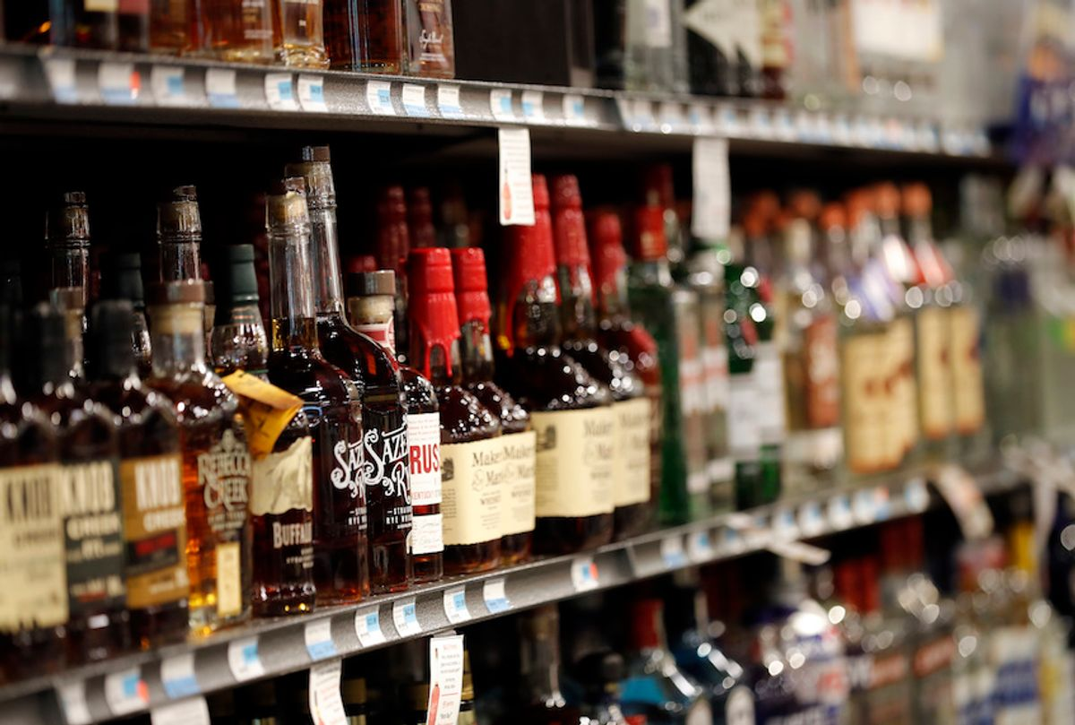 Liquor bottles are seen on display at a grocery store in River RIdge, La., Wednesday, July 11, 2018. (AP Photo/Gerald Herbert) (Gerald Herbert/AP Photo)