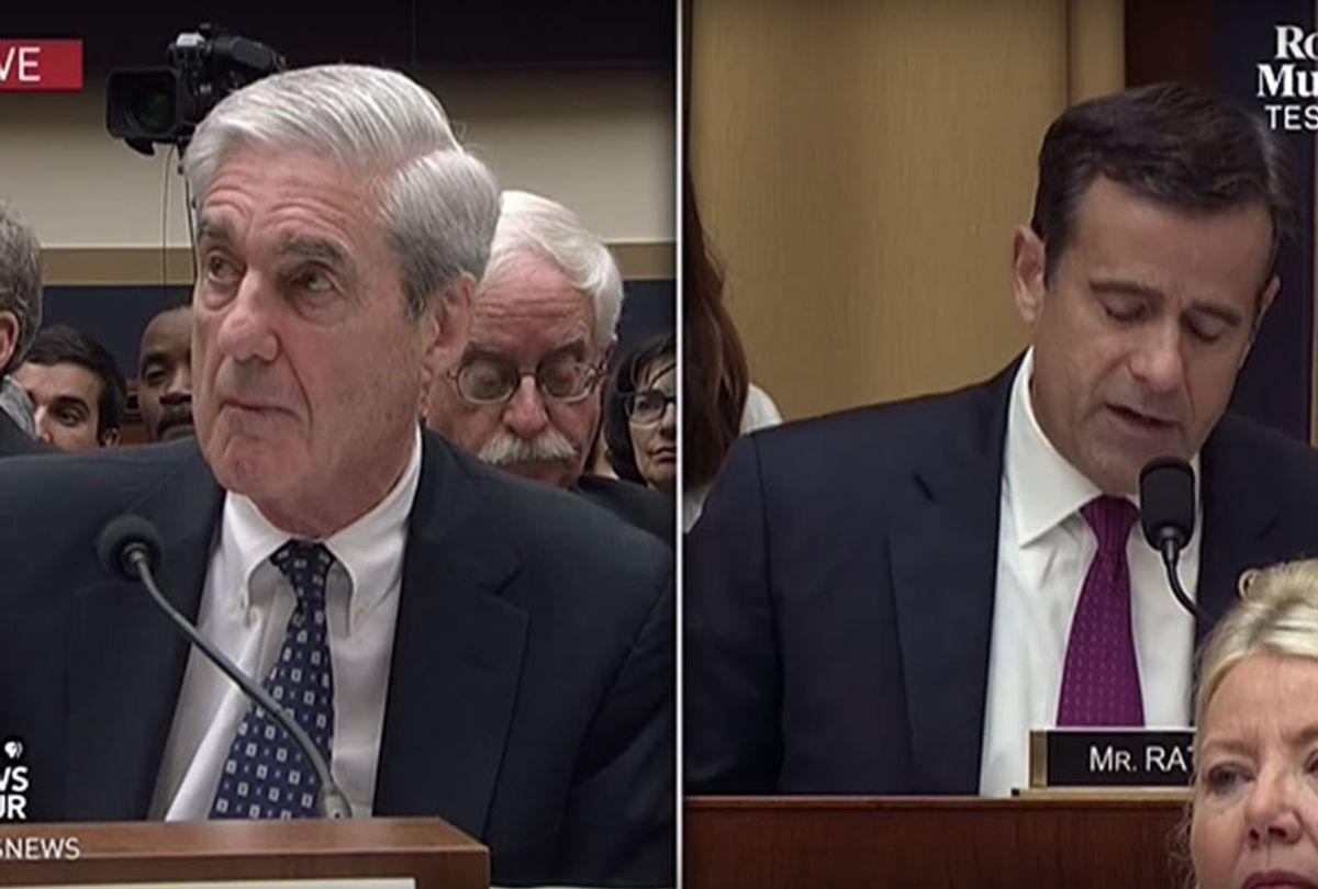 Former special counsel Robert Mueller; Rep. John Ratcliffe (R-TX) (YouTube/PBS NewsHour)