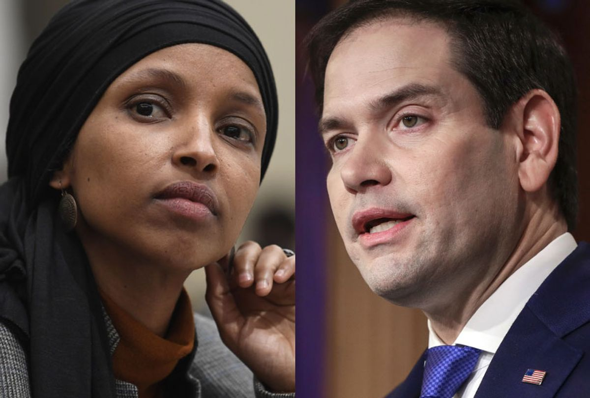 Ilhan Omar; Marco Rubio (AP/Susan Walsh/J. Scott Applewhite)