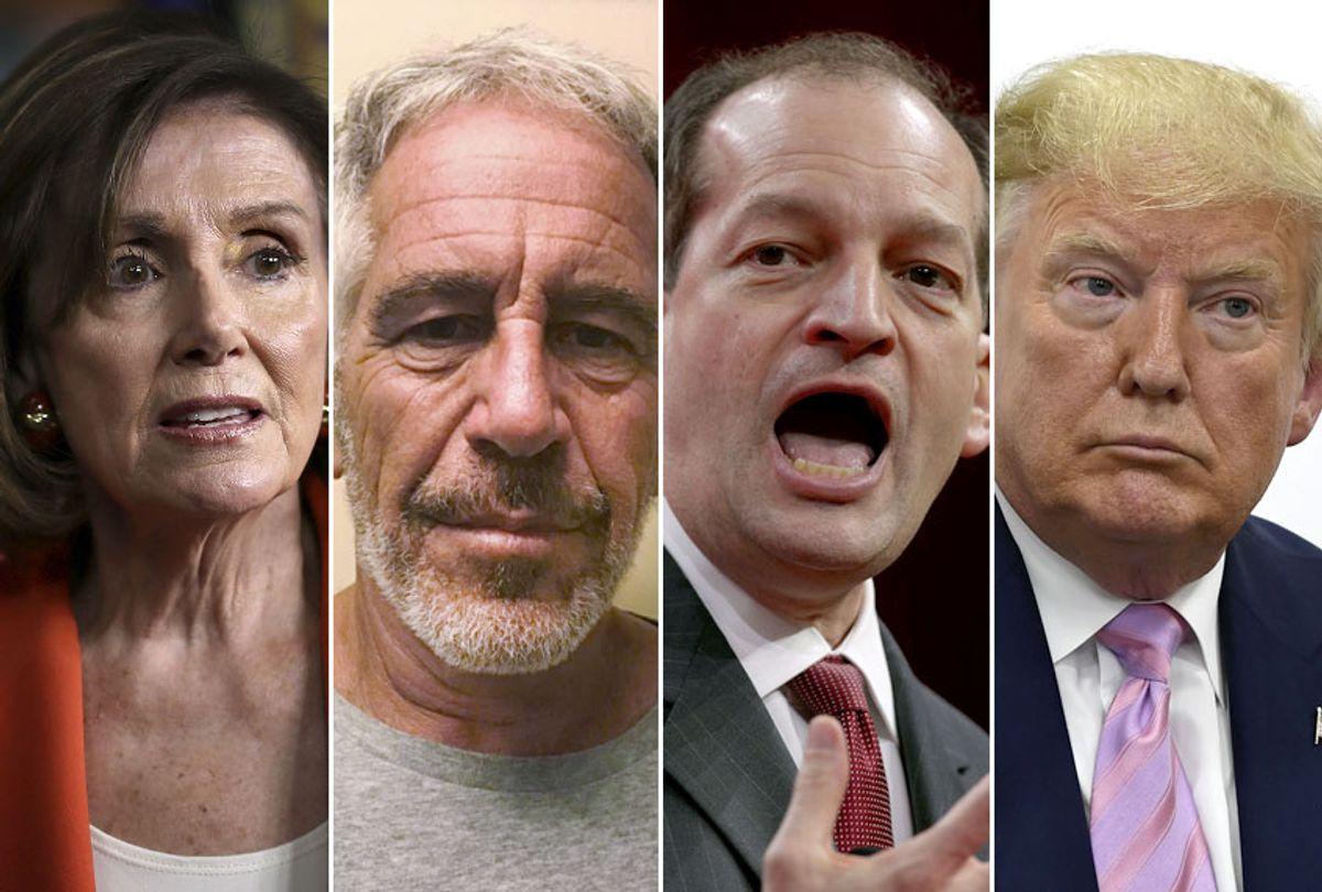 Nancy Pelosi; Jeffrey Epstein; Alex Acosta; Donald Trump (AP/Getty/Salon)