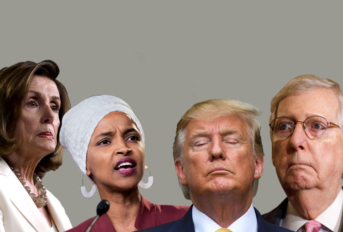 Nancy Pelosi; Ilhan Omar; Donald Trump; Mitch McConnell (AP/Getty/Salon)