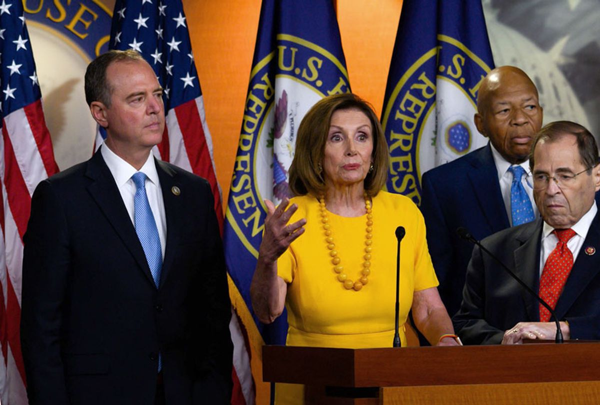 House Speaker Nancy Pelosi, flanked by House Intelligence Committee Chairman Adam Schiff, House Oversight and Reform Committee Chairman Elijah Cummings, and House Judiciary Committee Chairman Jerry Nadler, delivers a press conference following the former Special Counsel's testimony before the House Select Committee on Intelligence in Washington, DC, on July 24, 2019.  (Getty/ANDREW CABALLERO-REYNOLDS)