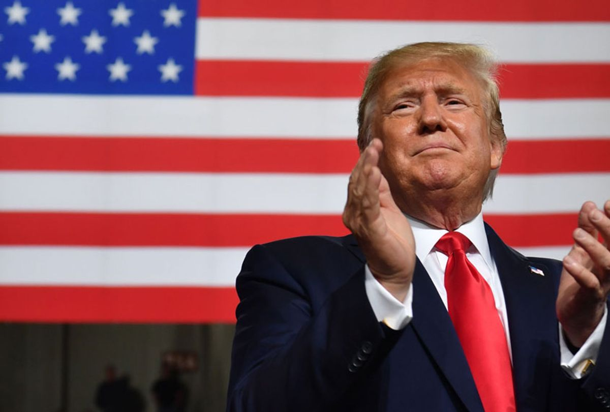 """US President Donald Trump speaks during a """"Keep America Great"""" campaign rally at the SNHU Arena in Manchester, New Hampshire, on August 15, 2019. (Getty/Nicholas Kamm)"""