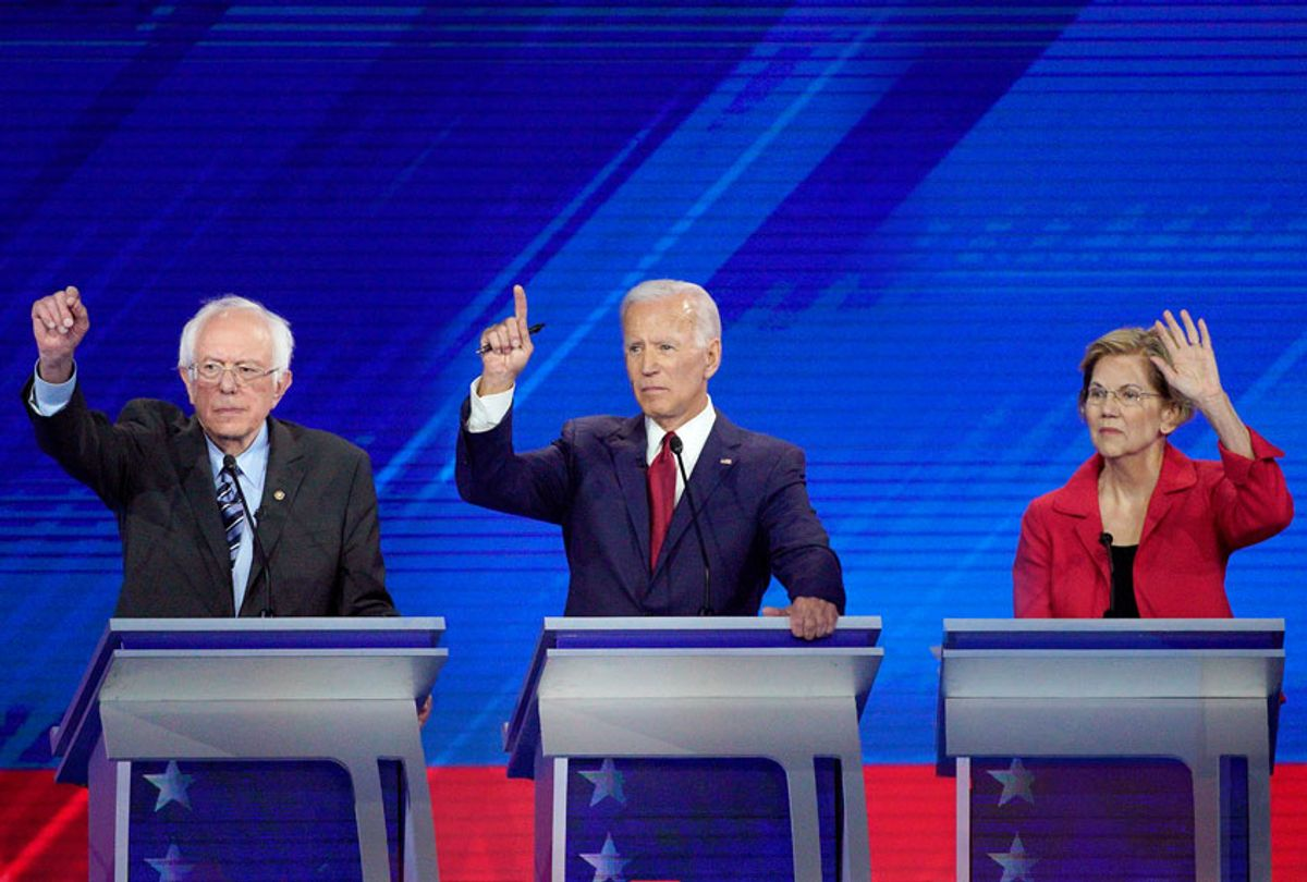 From left, Democratic presidential candidates Sen. Bernie Sanders, I-VT , former Vice President Joe Biden, Sen. Elizabeth Warren, D-Mass. gesture to answer a question Thursday, Sept. 12, 2019, during a Democratic presidential primary debate hosted by ABC at Texas Southern University in Houston. (AP Photo/David J. Phillip)