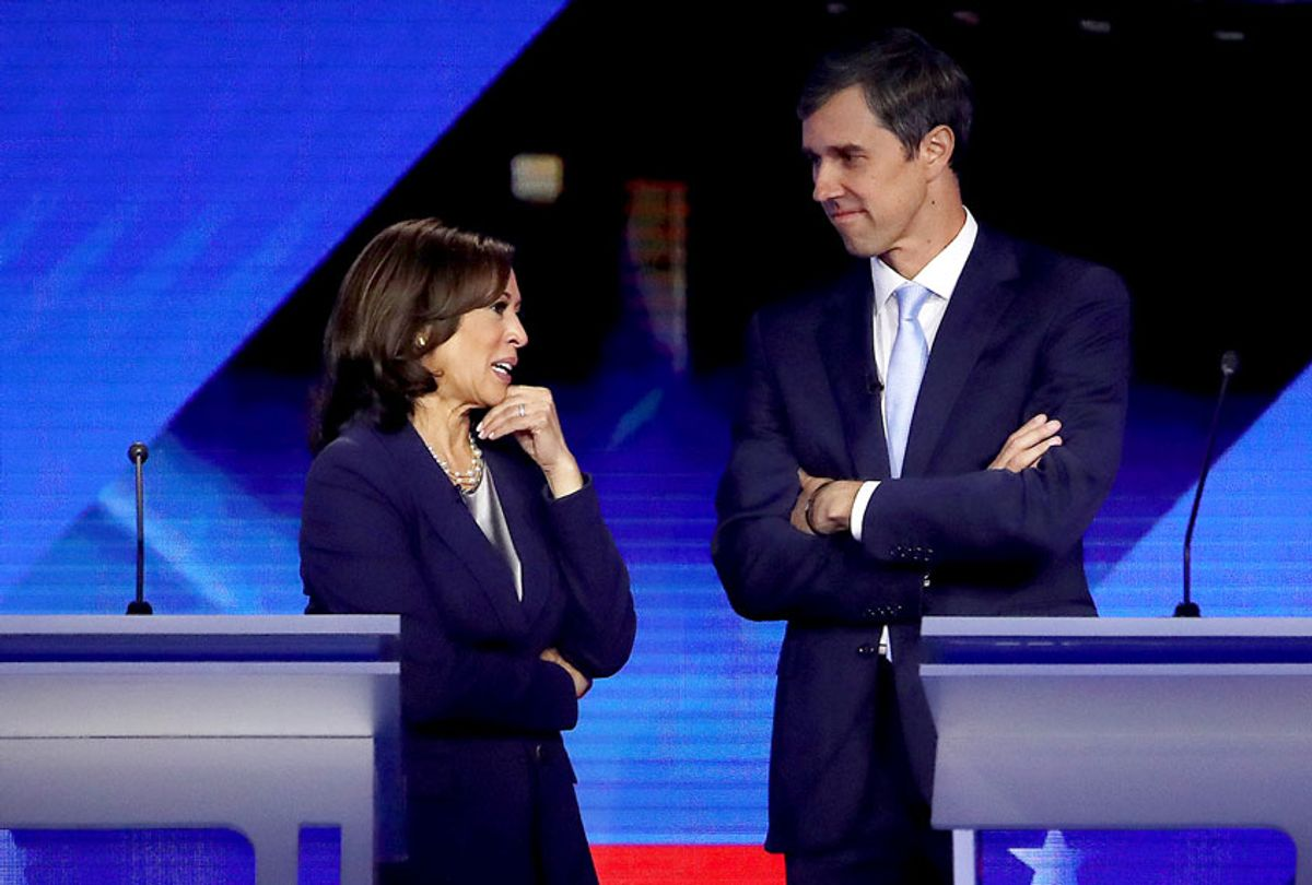 Democratic presidential candidates Sen. Kamala Harris (D-CA) and former Texas congressman Beto O'Rourke converse during a break in the Democratic Presidential Debate at Texas Southern University's Health and PE Center on September 12, 2019 in Houston, Texas. (Win McNamee/Getty Images)