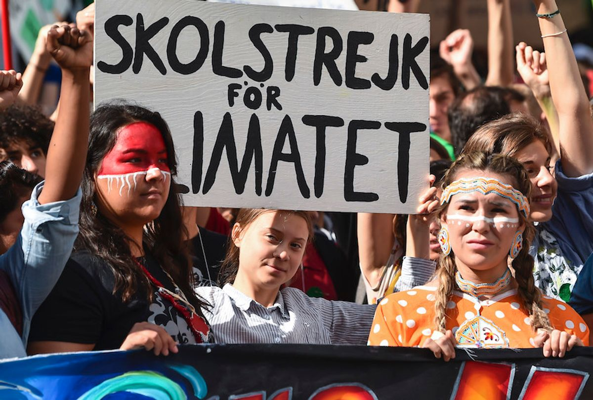 MONTREAL, QC - SEPTEMBER 27:  Led by Swedish climate activist Greta Thunberg (C), young activists and their supporters rally for action on climate change on September 27, 2019 in Montreal, Canada. Hundreds of thousands of people are expected to take part in what could be the city's largest climate march.  (Photo by Minas Panagiotakis/Getty Images) (Minas Panagiotakis/Getty Images)