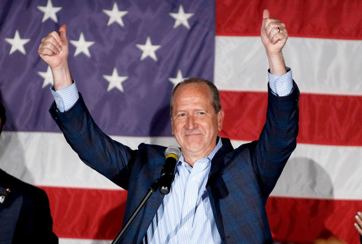 North Carolina 9th district Republican congressional candidate Dan Bishop celebrates his victory in Monroe, N.C., Tuesday, Sept. 10, 2019 (AP Photo/Nell Redmond)