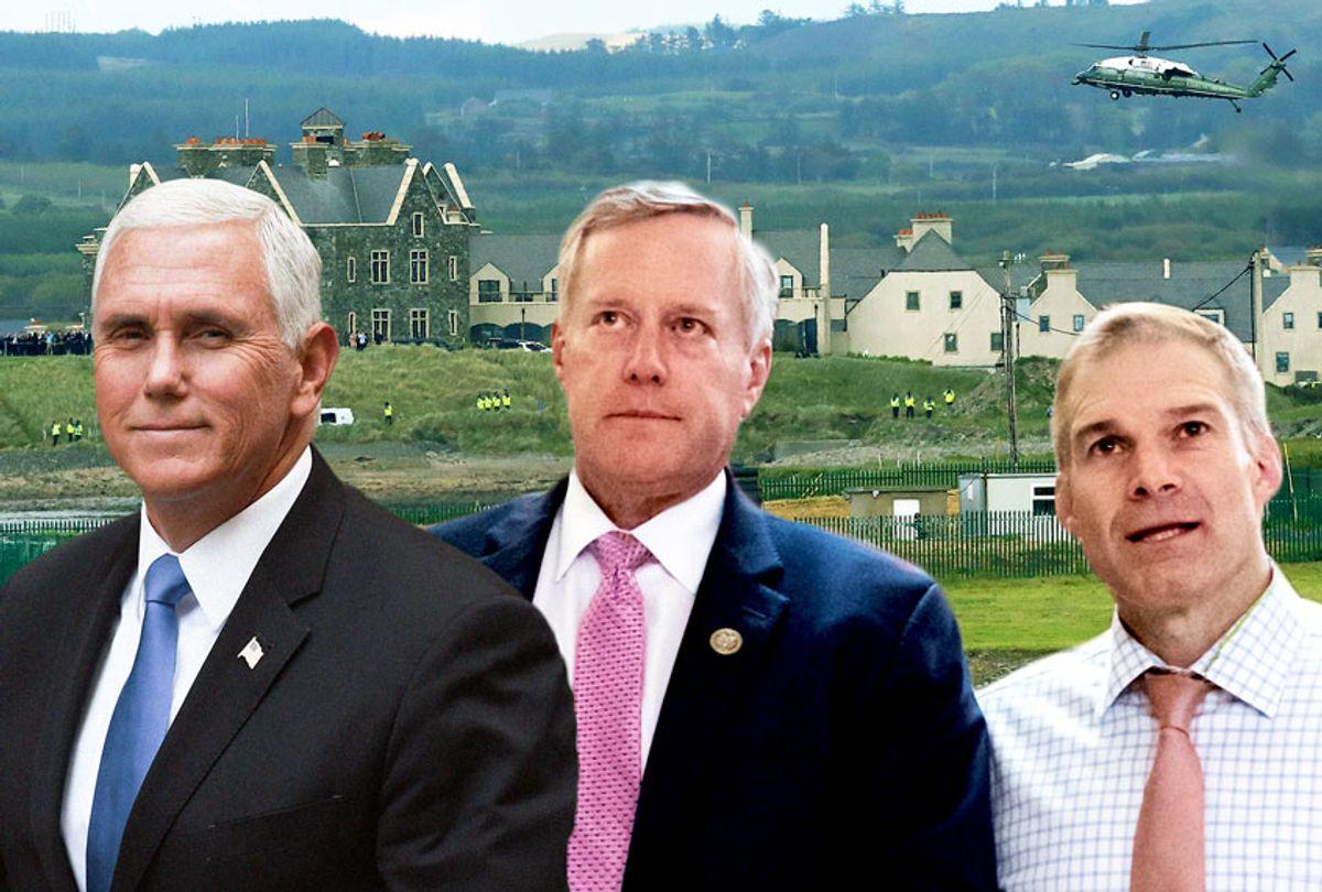Mike Pence, Mark Meadows, and Jim Jordan (AP Photo/Salon)