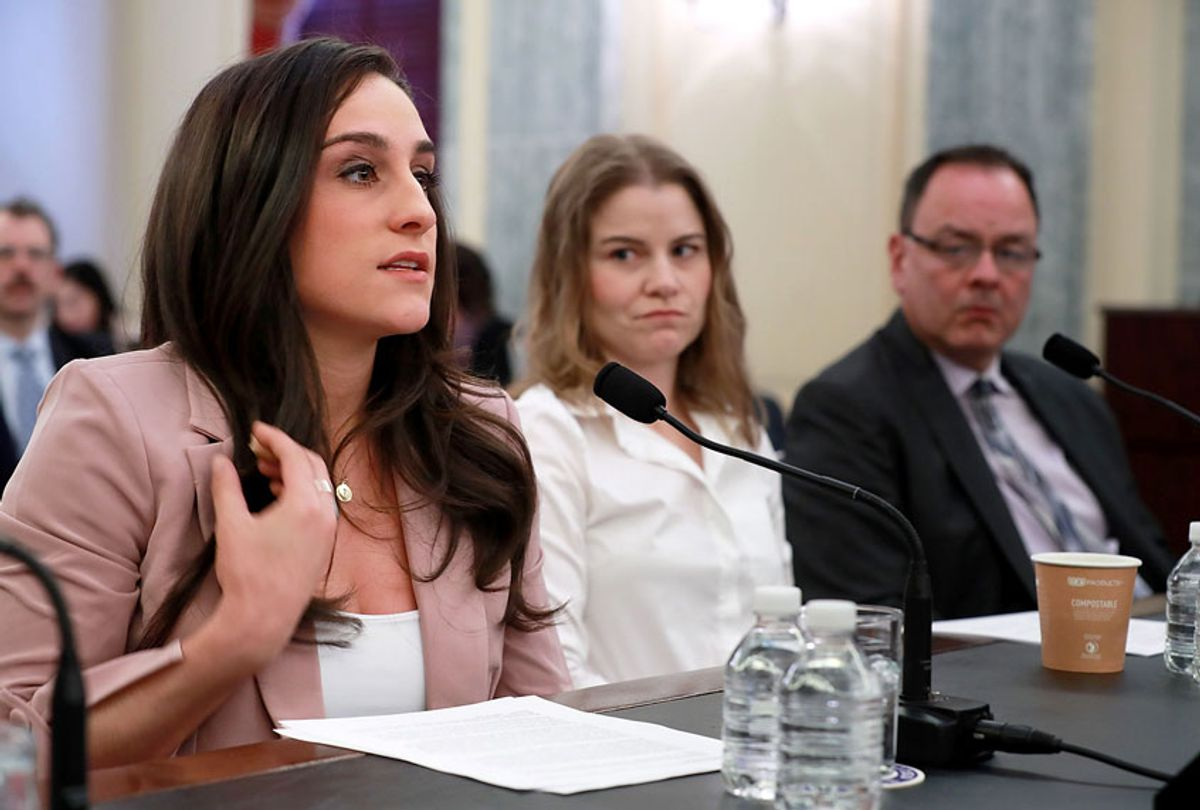 Olympic gymnastics gold medalist Jordyn Wieber (L) recounts her sexual abuse at the hands of team doctor Larry Nassar while testifying before the Senate Commerce, Science and Transportation Committee's Consumer Protection, Product Safety, Insurance and Data Security Subcommittee with fellow abuse victims speedskater Bridie Farrell and figureskater Craig Maurizi in the Russell Senate Office Building on Capitol Hill April 18, 2018 in Washington, DC. The athletes testified during the hearing titled 'Olympic Abuse: The Role of National Governing Bodies in Protecting Our Athletes.' (Chip Somodevilla/Getty Images)
