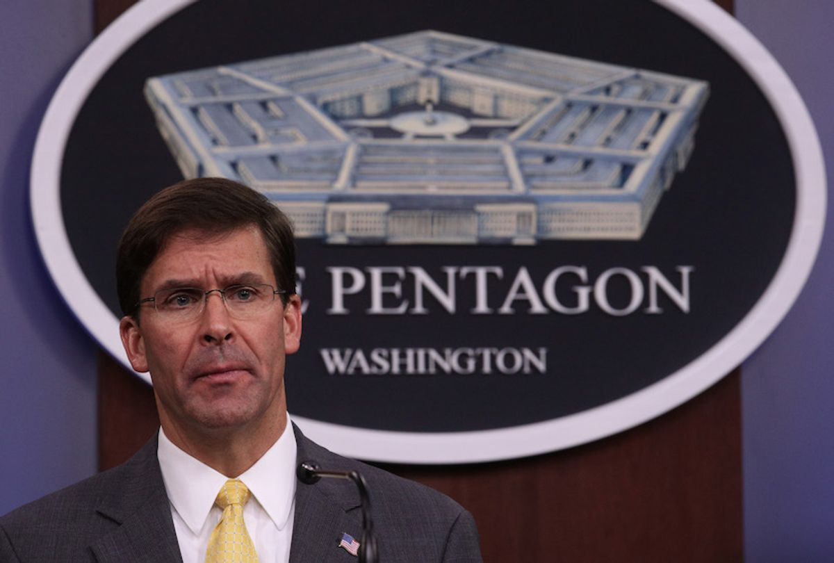 U.S. Secretary of Defense Mark Esper holds a media briefing at the Pentagon August 28, 2019 in Arlington, Virginia.  (Photo by Alex Wong/Getty Images)