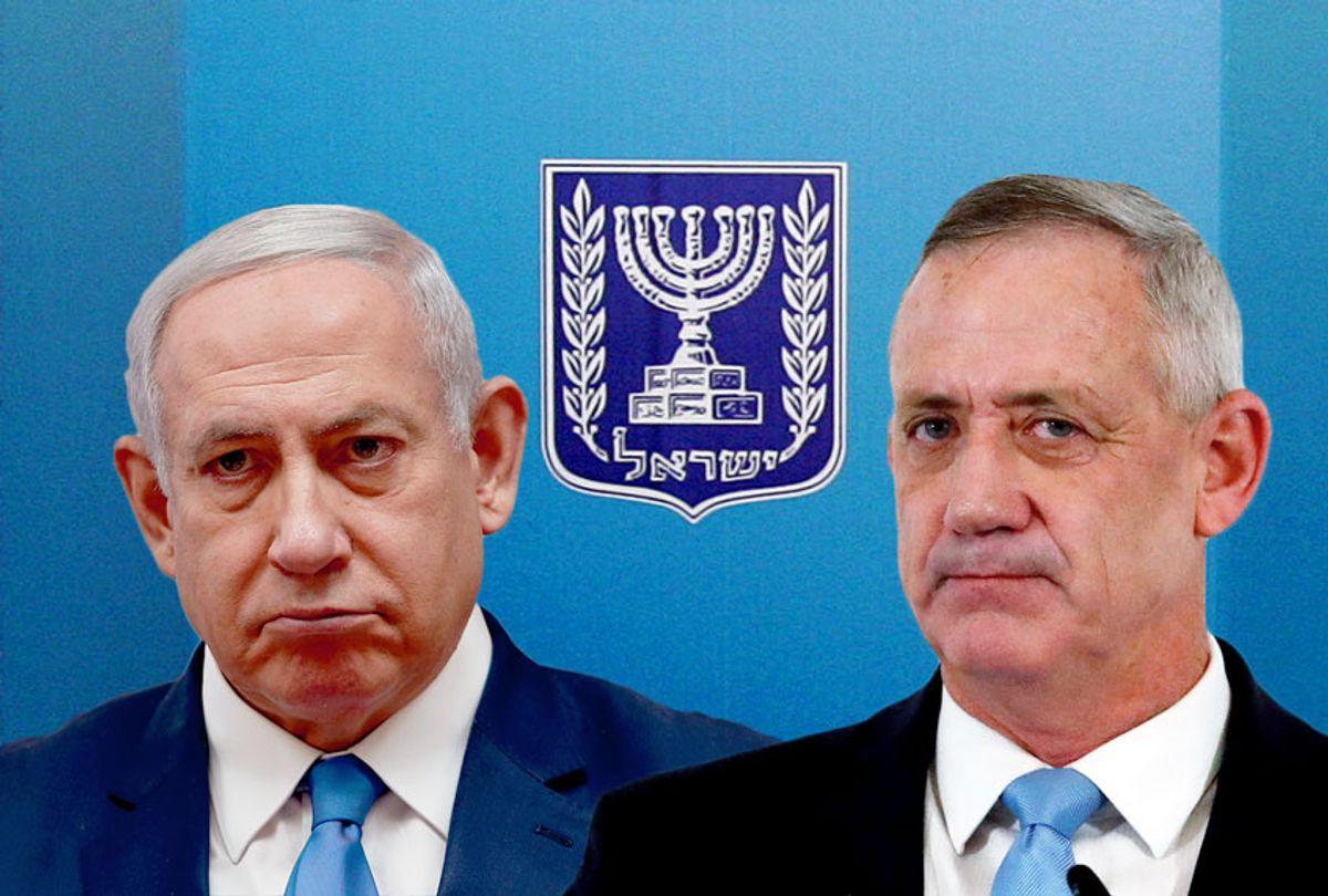 Benjamin Netanyahu and Benny Gantz (AP Photo/Matthias Schrader/Ronen Zvulun/Salon)