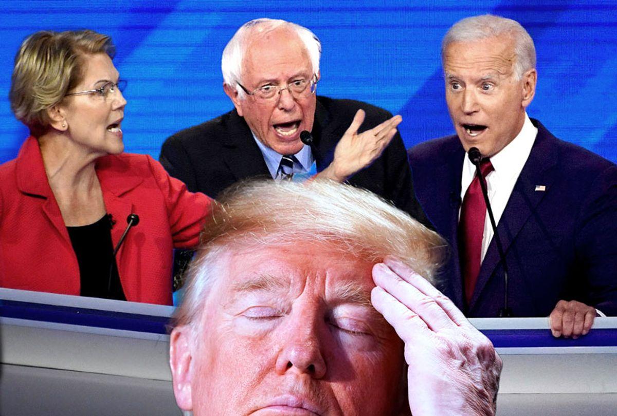 Elizabeth Warren, Bernie Sanders, Joe Biden and Donald Trump (Getty Images/AP Photo/Salon)