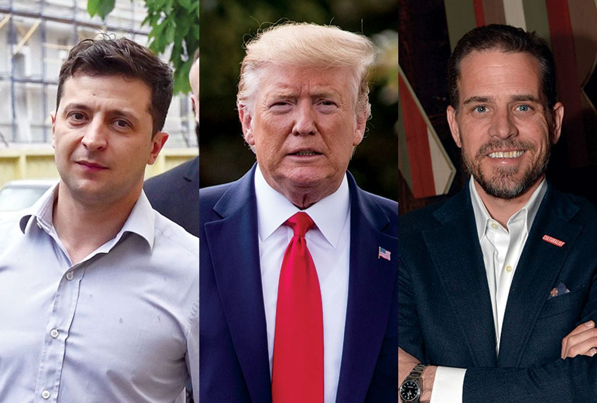 US President Donald Trump, Ukrainian President Volodymyr Zelensky and Hunter Biden (Andrew Harnik/Jack Dempsey/Invision for Participant Media/Getty/SERGEI SUPINSKY)