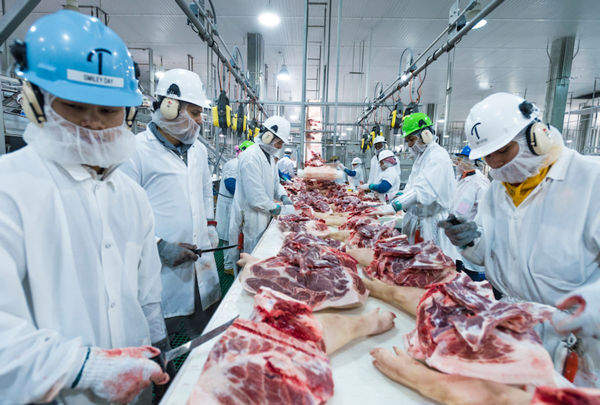 Inside the Triumph Foods pork processing facility April 28, 2017. The facility houses 2,800 employees in St. Joseph, Mo.   (USDA photo by Preston Keres)