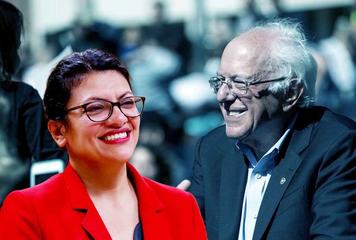 Rep. Rashida Tlaib and Democratic presidential candidate, Sen. Bernie Sanders (AP Photo/Paul Sancya/Getty Images/Scott Eisen)