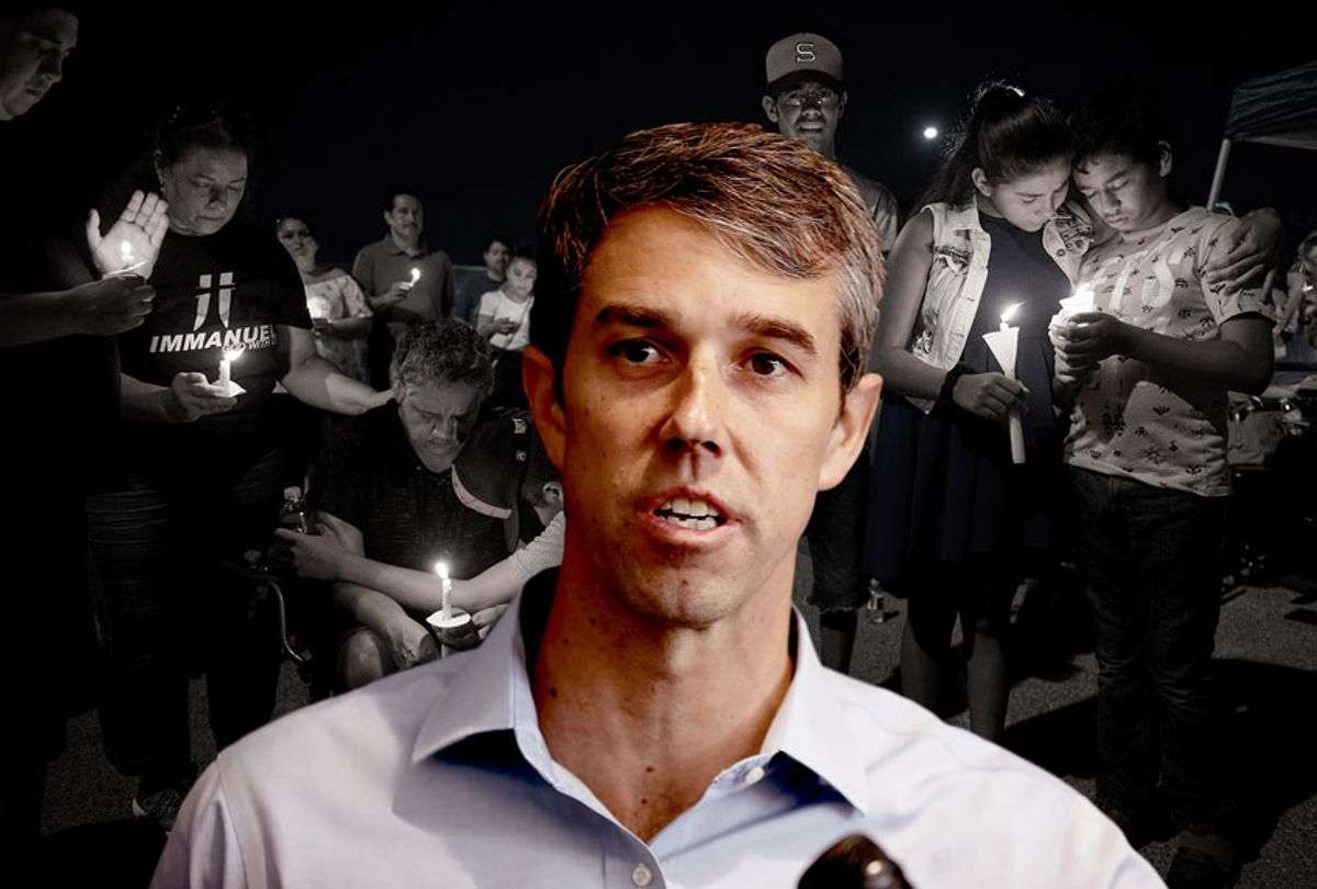 Beto O'Rourke in front of a candlelight vigil at the Immanuel Church for victims of the El Paso shooting (Justin Sullivan/MARK RALSTON/AFP/Getty Images)