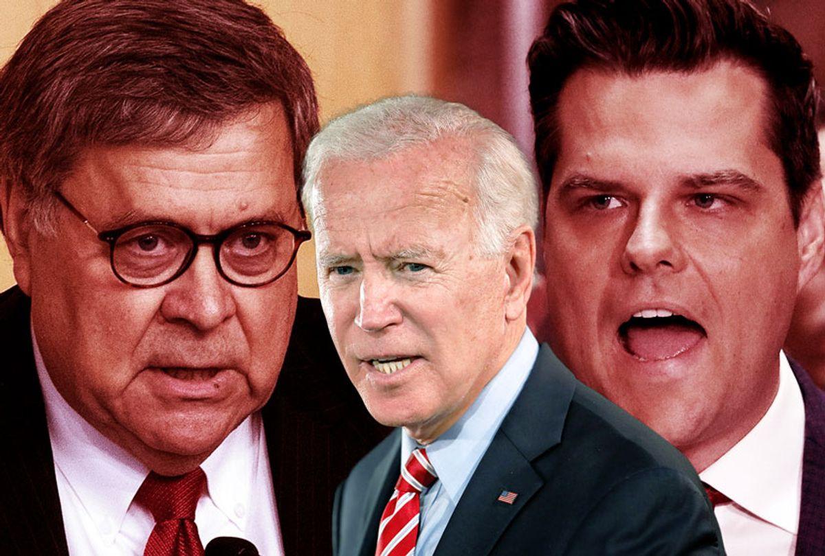 Bill Barr, Matt Gaetz and Joe Biden (Getty Images/Rick Loomis/Alex Wong/Nicholas Kamm/Salon)