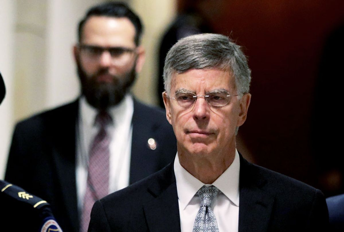 Bill Taylor (C), the top U.S. diplomat to Ukraine, arrives at a closed session before the House Intelligence, Foreign Affairs and Oversight committees October 22, 2019 at the U.S. Capitol in Washington, DC. Taylor was on Capitol Hill to testify to the committees for the ongoing impeachment inquiry against President Donald Trump. (Alex Wong/Getty Images)