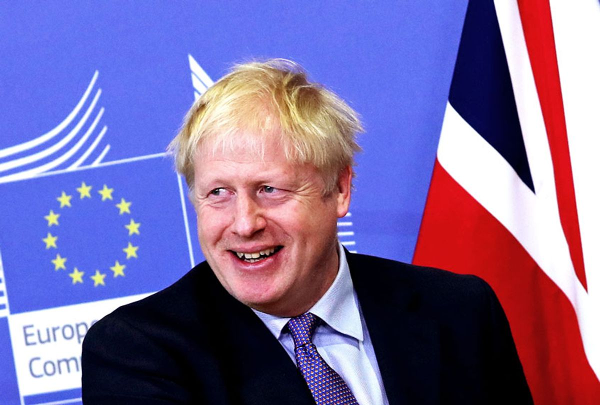 British Prime Minister Boris Johnson at EU headquarters in Brussels, Thursday, Oct. 17, 2019. Britain and the European Union reached a new tentative Brexit deal on Thursday, hoping to finally escape the acrimony, divisions and frustration of their three-year divorce battle.  (AP Photo/Francisco Seco)