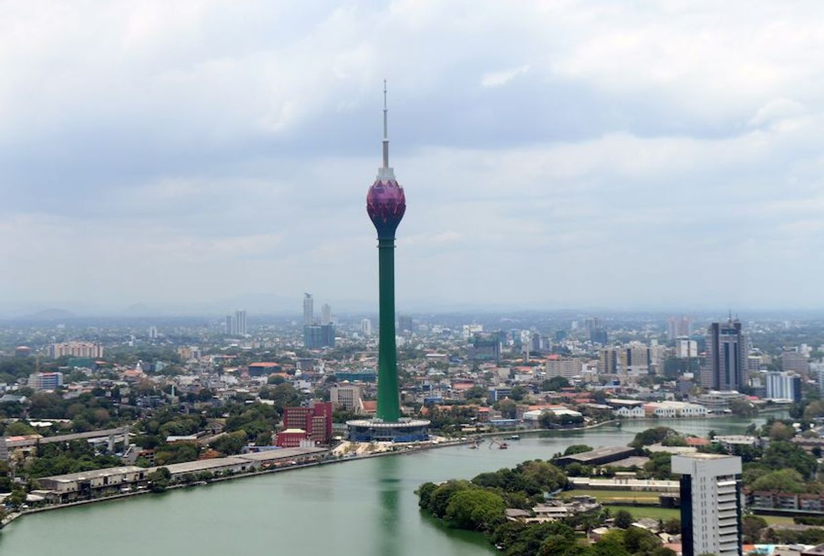 This photo taken on April 17, 2019 shows the China-funded Lotus Tower in central Colombo. - Real estate projects around the city have been linked to China's Belt and Road Initiative (BRI), a sweeping trillion-dollar infrastructure program across Asia, Africa and Europe that is viewed with deep suspicion by countries like India and the United States and has divided opinion within the EU. (Lakruwan Wanniarachchi/AFP/Getty Images)