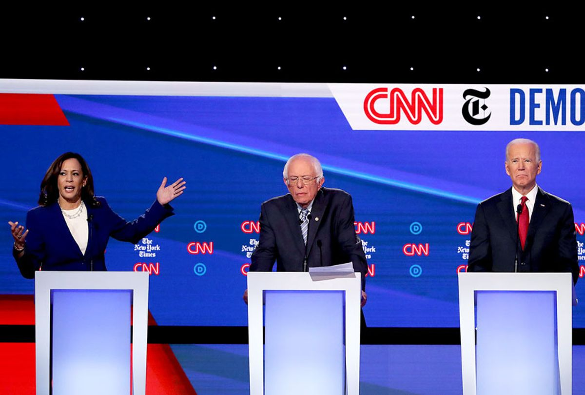 Sen. Kamala Harris (D-CA) speaks as Sen. Bernie Sanders (I-VT), and former Vice President Joe Biden look on during the Democratic Presidential Debate at Otterbein University on October 15, 2019 in Westerville, Ohio. A record 12 presidential hopefuls are participating in the debate hosted by CNN and The New York Times. (Win McNamee/Getty Images)