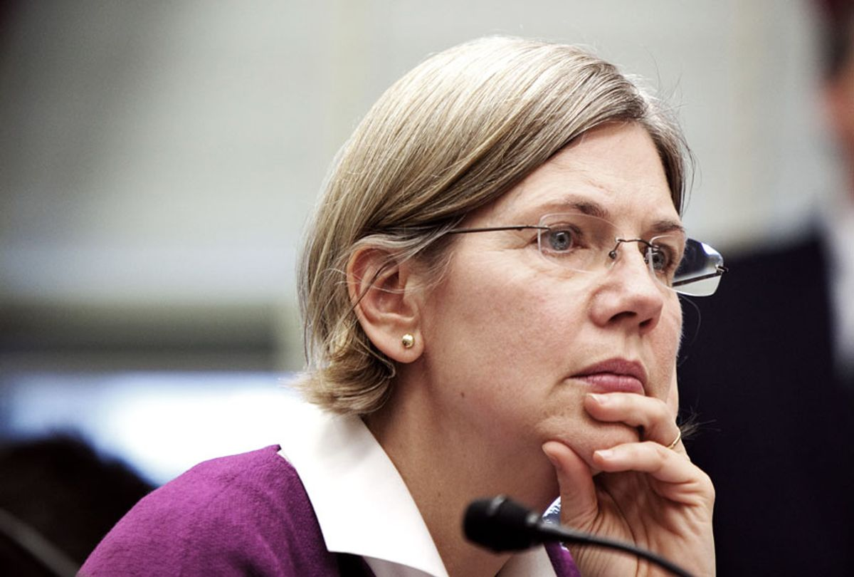 Elizabeth Warren, chair of the Congressional Oversight Panel, testifies at a hearing on Capitol Hill on oversight of the Troubled Asset Relief Program (TARP) on Feb. 24, 2009 in Washington, DC. The hearing focused on ensuring the funds are spent transparently. (Brendan Hoffman/Getty Images)