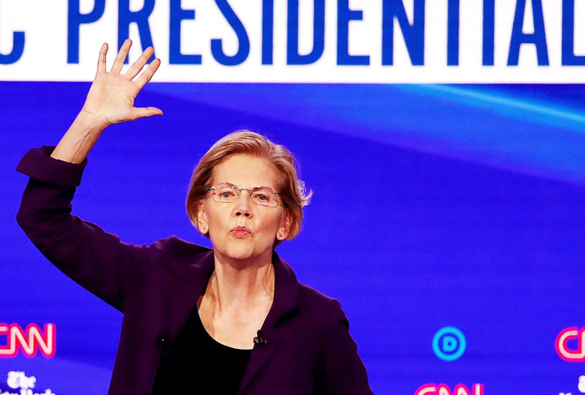 Elizabeth Warren (D-MA) speaks during the Democratic Presidential Debate at Otterbein University on October 15, 2019 in Westerville, Ohio. A record 12 presidential hopefuls are participating in the debate hosted by CNN and The New York Times.  (Win McNamee/Getty Images)