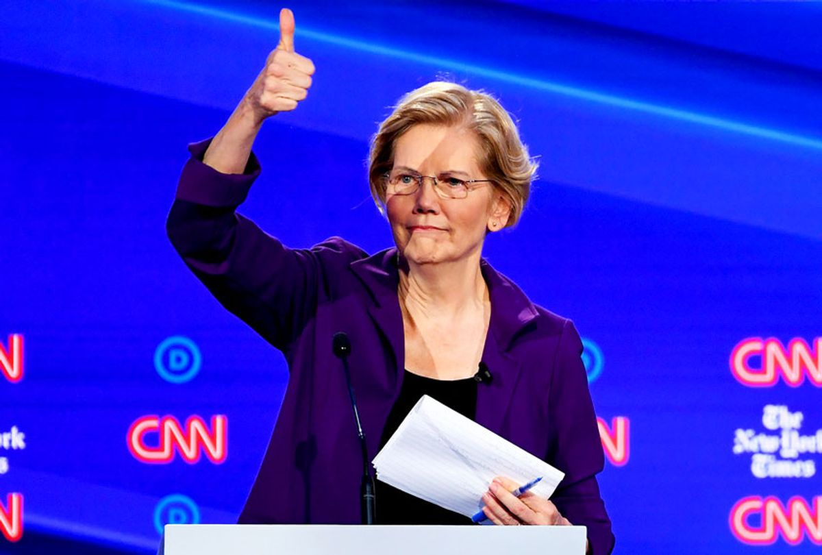 Democratic presidential hopeful Massachusetts Senator Elizabeth Warren gestures during the fourth Democratic primary debate of the 2020 presidential campaign season co-hosted by The New York Times and CNN at Otterbein University in Westerville, Ohio on October 15, 2019.  (SAUL LOEB/AFP via Getty Images)