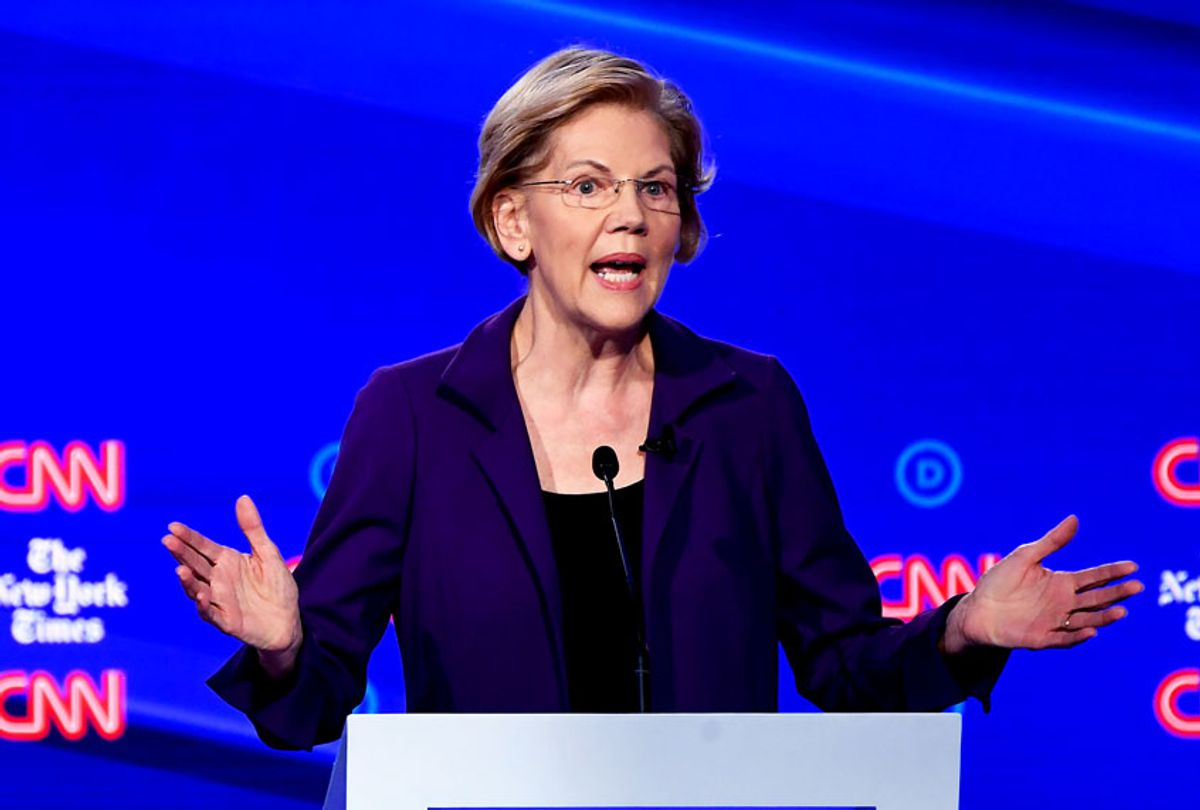 Democratic presidential hopeful Massachusetts Senator Elizabeth Warren speaks during the fourth Democratic primary debate of the 2020 presidential campaign season co-hosted by The New York Times and CNN at Otterbein University in Westerville, Ohio on October 15, 2019.  (SAUL LOEB/AFP via Getty Images)
