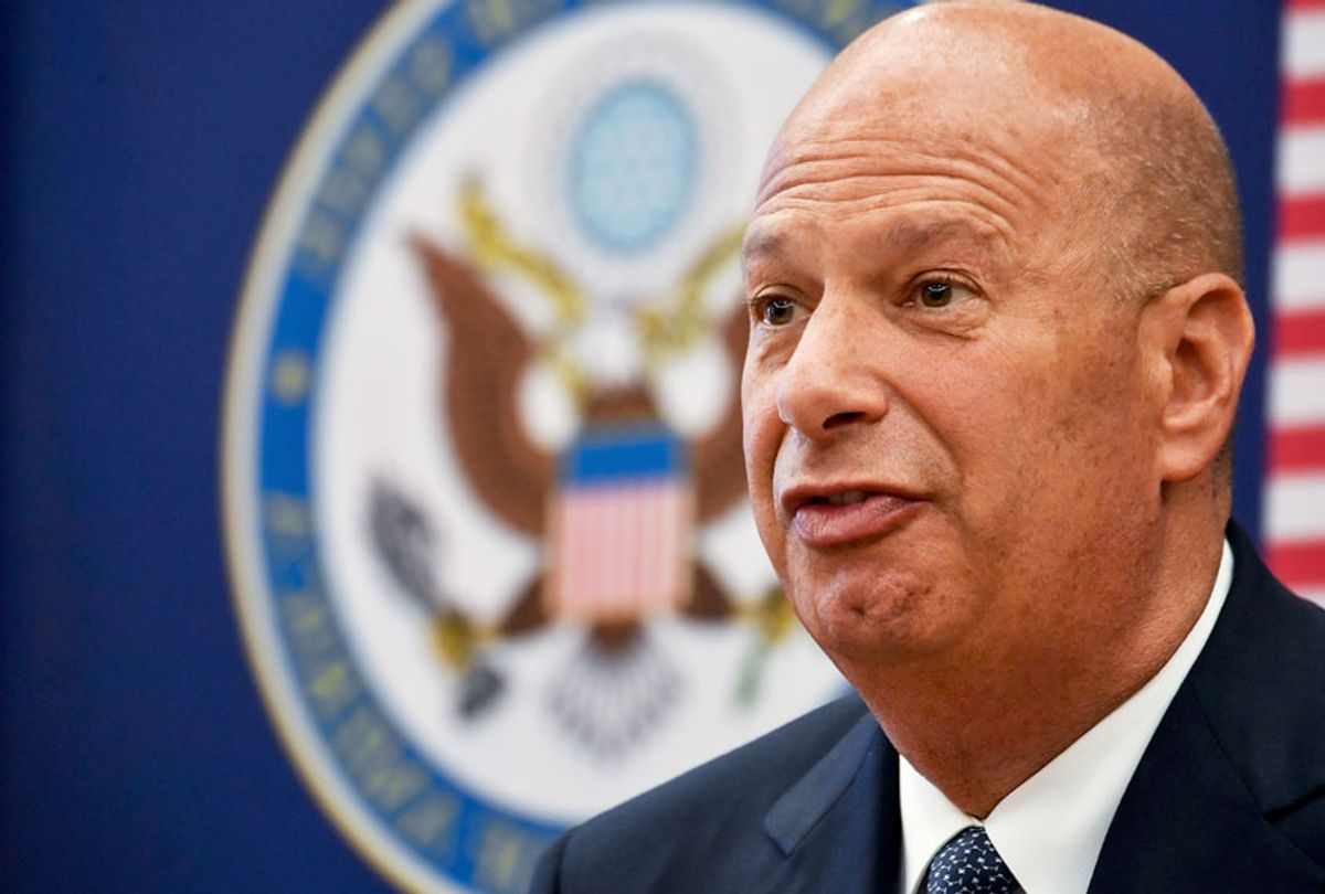 Gordon Sondland, the United States Ambassador to the European Union, adresses the media during a press conference at the US Embassy to Romania in Bucharest September 5, 2019.  (DANIEL MIHAILESCU/AFP/Getty Images)