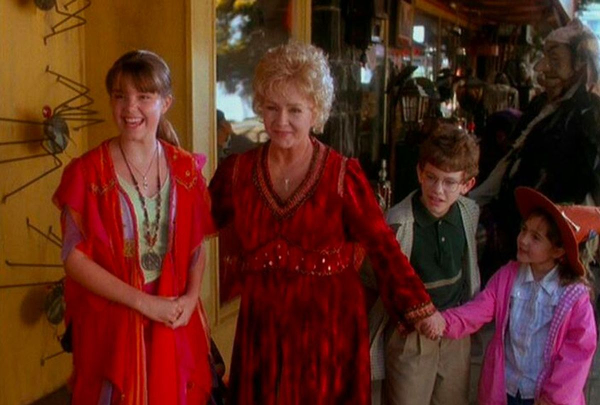Debbie Reynolds, Kimberly J. Brown, Emily Roeske, and Joey Zimmerman in Halloweentown (1998) (ABC/Disney)