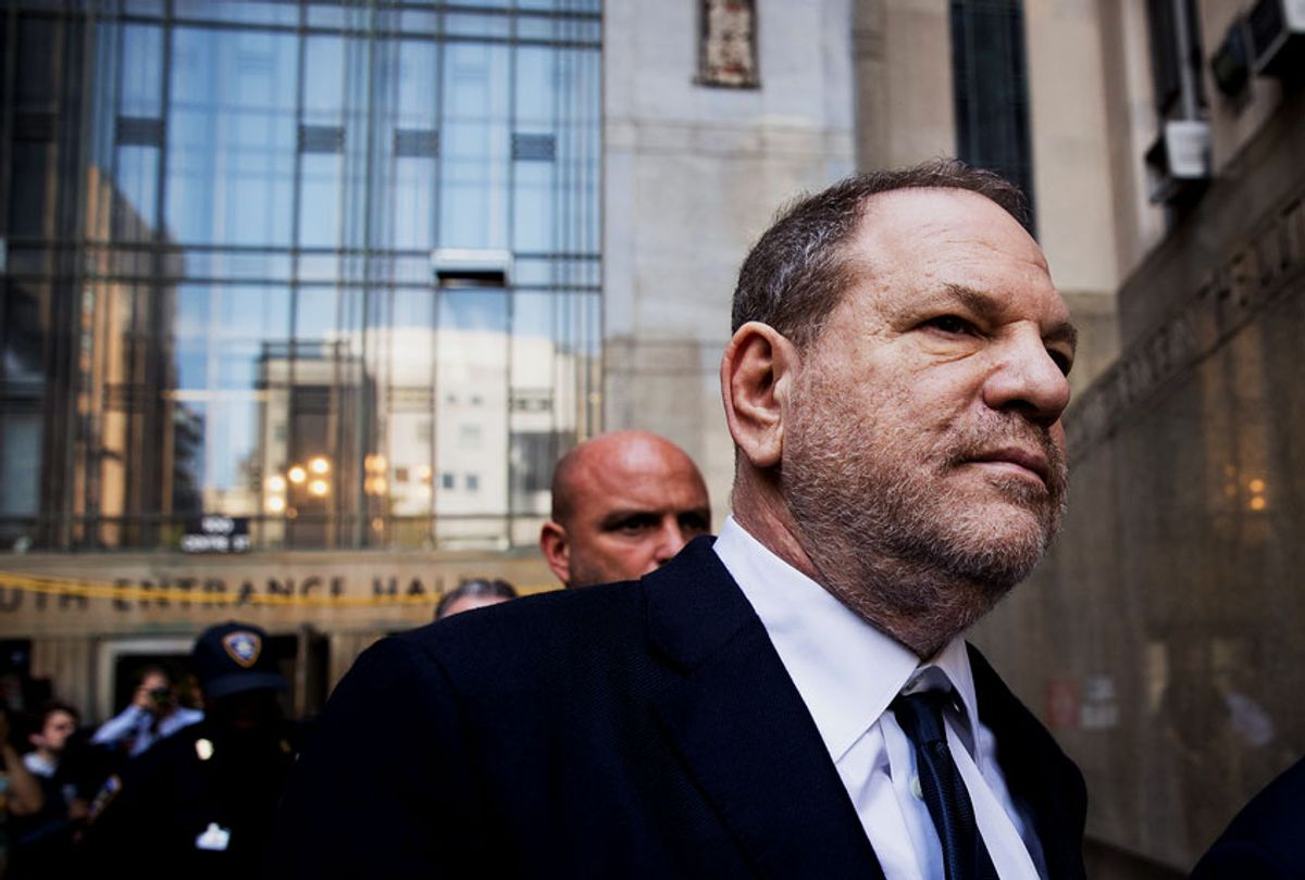 Harvey Weinstein exits State Supreme Court, June 5, 2018 in New York City. Weinstein pleaded not guilty on two counts of rape and one count of a criminal sexual act. (Drew Angerer/Getty Images)