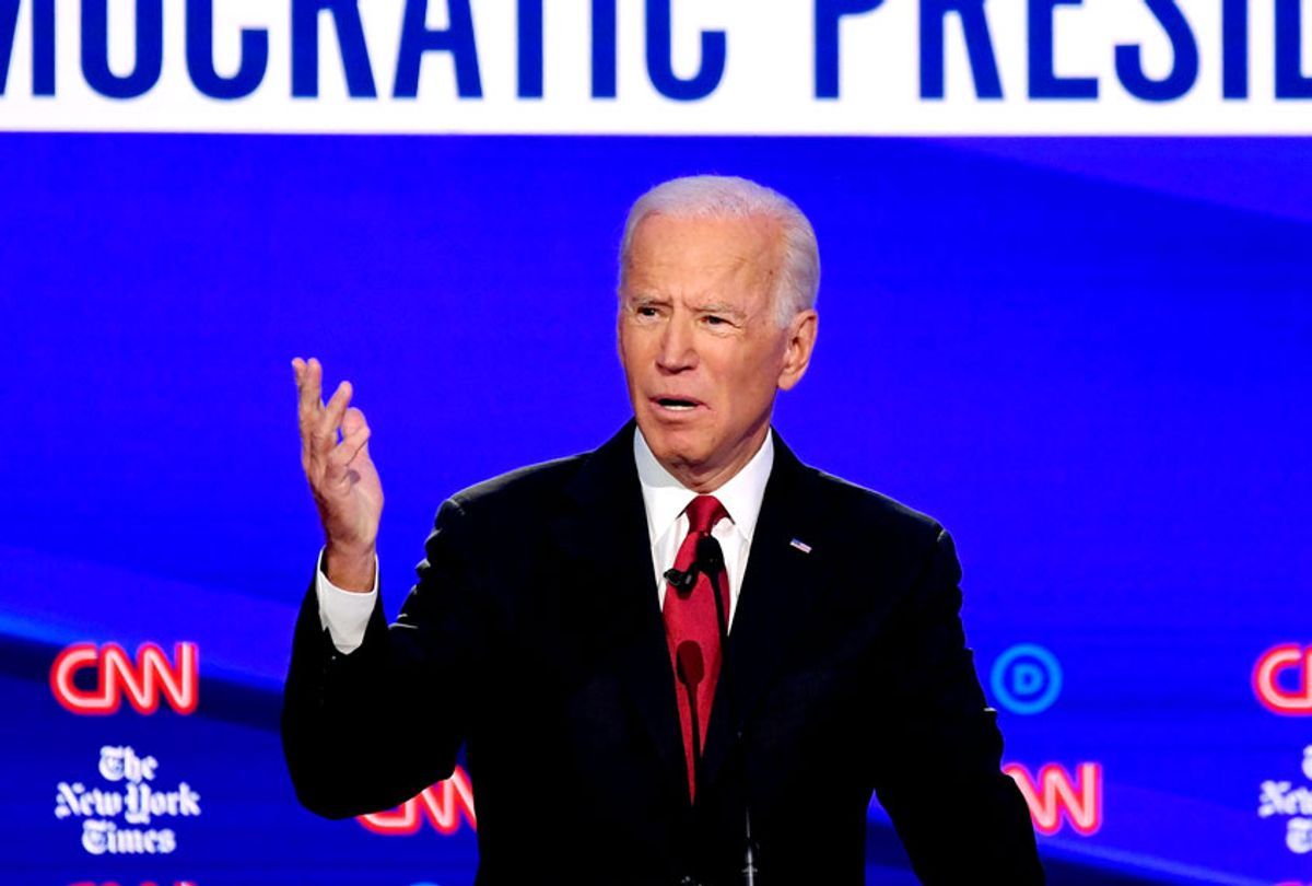 Democratic presidential hopeful former US Vice President Joe Biden gestures as he speaks during the fourth Democratic primary debate of the 2020 presidential campaign season co-hosted by The New York Times and CNN at Otterbein University in Westerville, Ohio on October 15, 2019.  (SAUL LOEB/AFP via Getty Images)