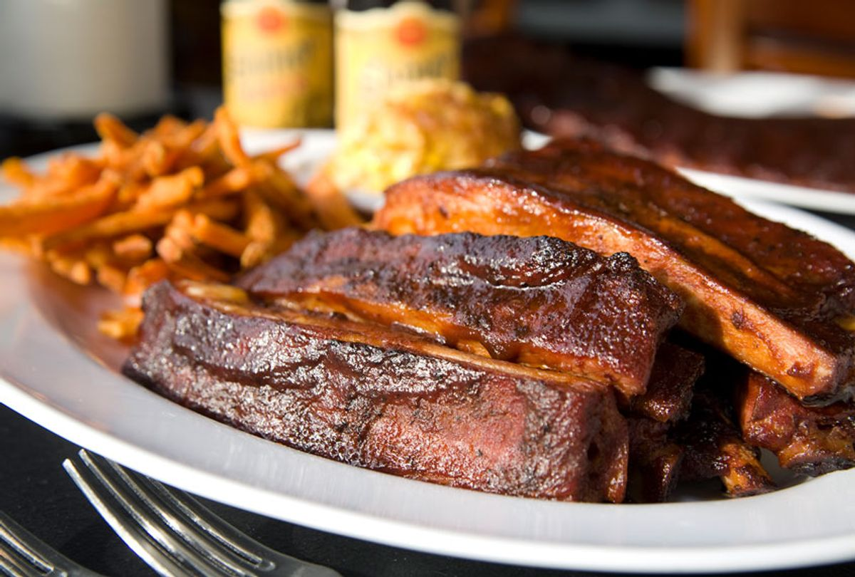 Kansas City style barbeque ribs with sweet potato fries (Getty Images)