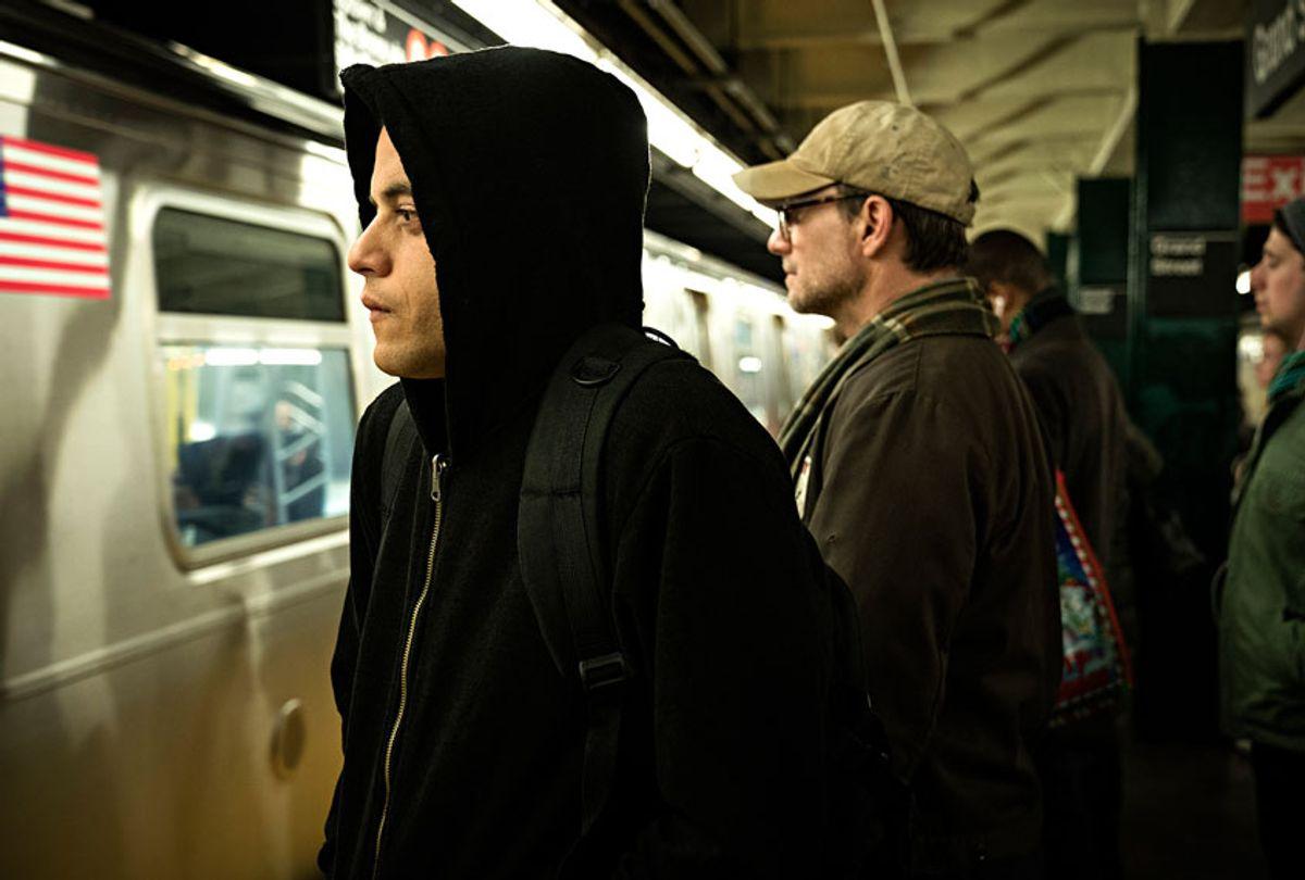 "MR. ROBOT -- ""Unauthorized"" Episode 401 -- Pictured: (l-r) Rami Malek as Elliot Alderson, Christian Slater as Mr. Robot  (Elizabeth Fisher/USA Network)"