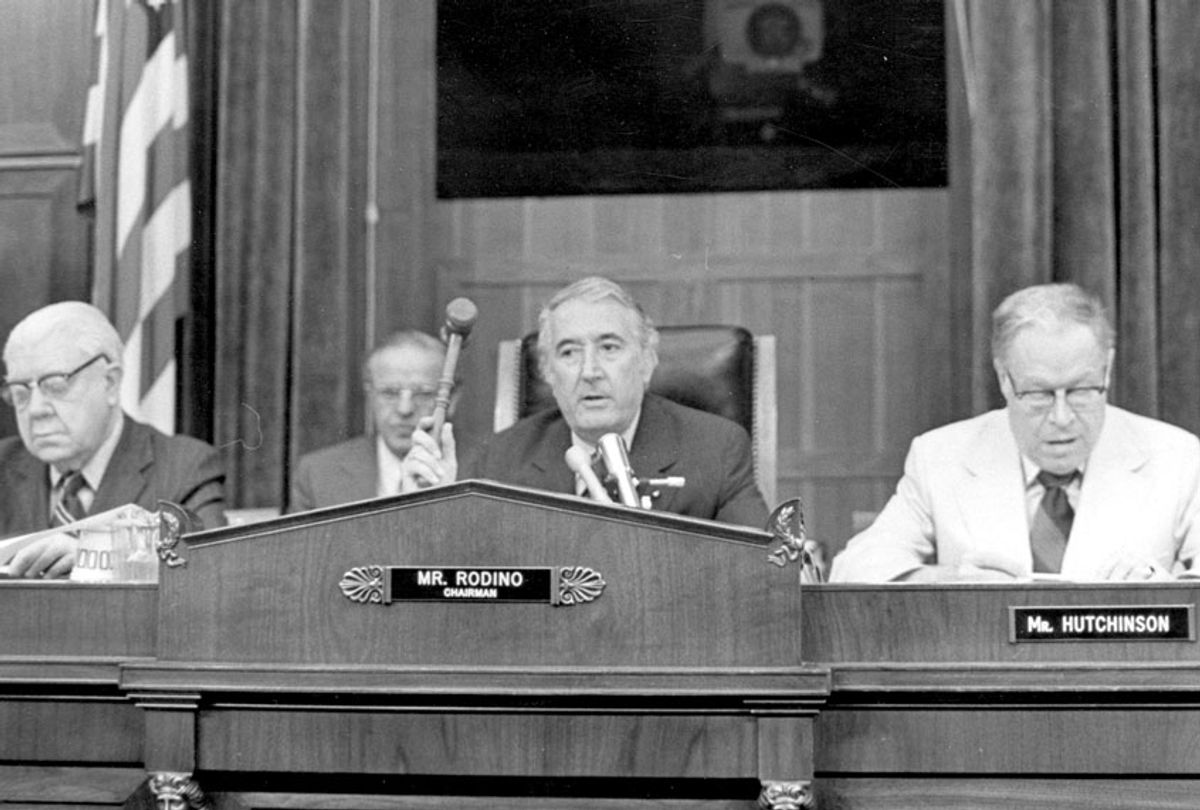 29th July 1974: The Judiciary Committee Impeachment Panel gathered to hear evidence in the Watergate affair, eventually leading to the impeachment of President Nixon. From left to right, Donohue, Rodino and Hutchinson.  (Keystone/Getty Images)