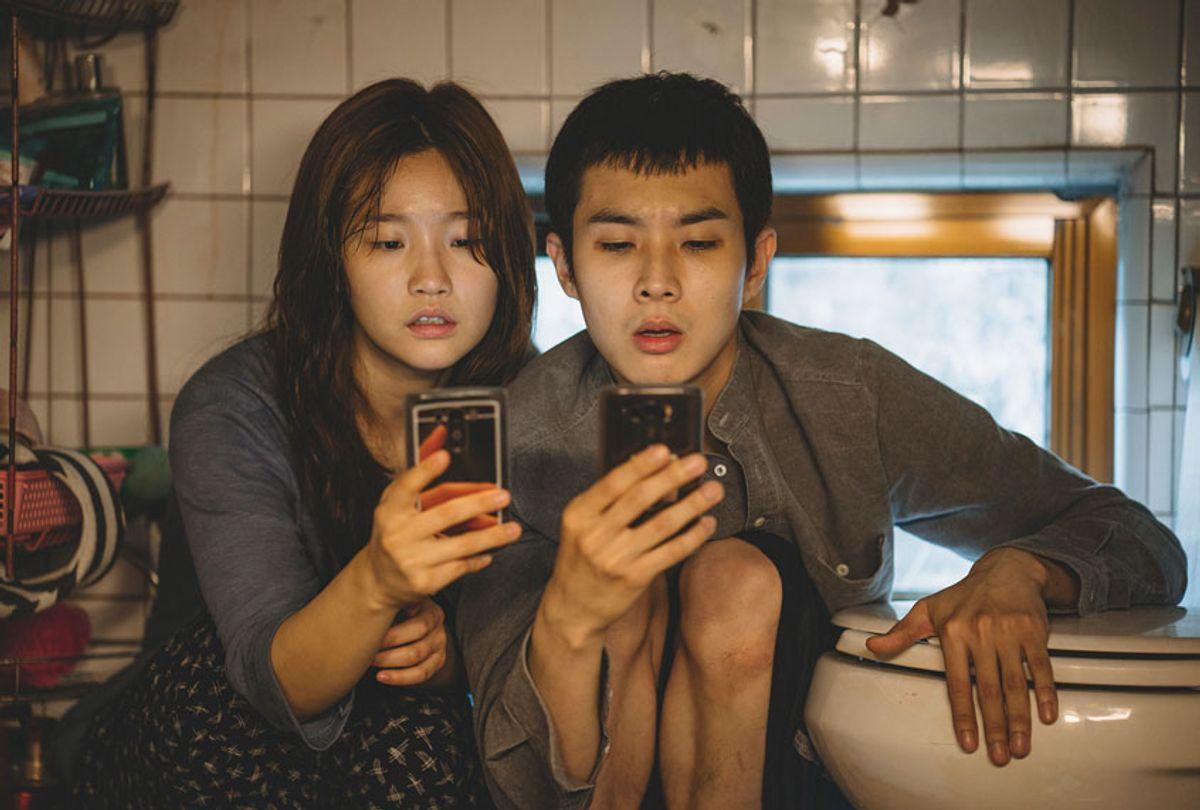 "Ki-jung Kim (So-dam Park) and Ki-woo Park (Woo-sik Choi) in ""Parasite.""  (Courtesy of NEON + CJ Entertainment)"