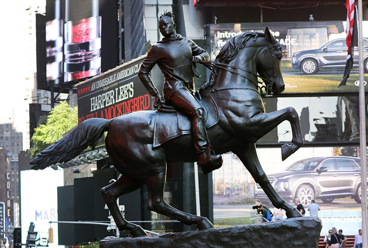 """Kehinde Wiley's """"Rumors of War"""" statue in Times Square (Spencer Platt/Getty Images)"""