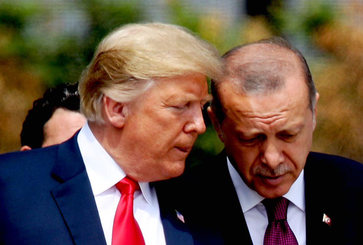 U.S. President Donald Trump (L) and Turkish President Recep Tayyip Erdogan attend the opening ceremony at the 2018 NATO Summit at NATO headquarters on July 11, 2018 in Brussels, Belgium. Leaders from NATO member and partner states are meeting for a two-day summit, which is being overshadowed by strong demands by U.S. President Trump for most NATO member countries to spend more on defense. (Sean Gallup/Getty Images)