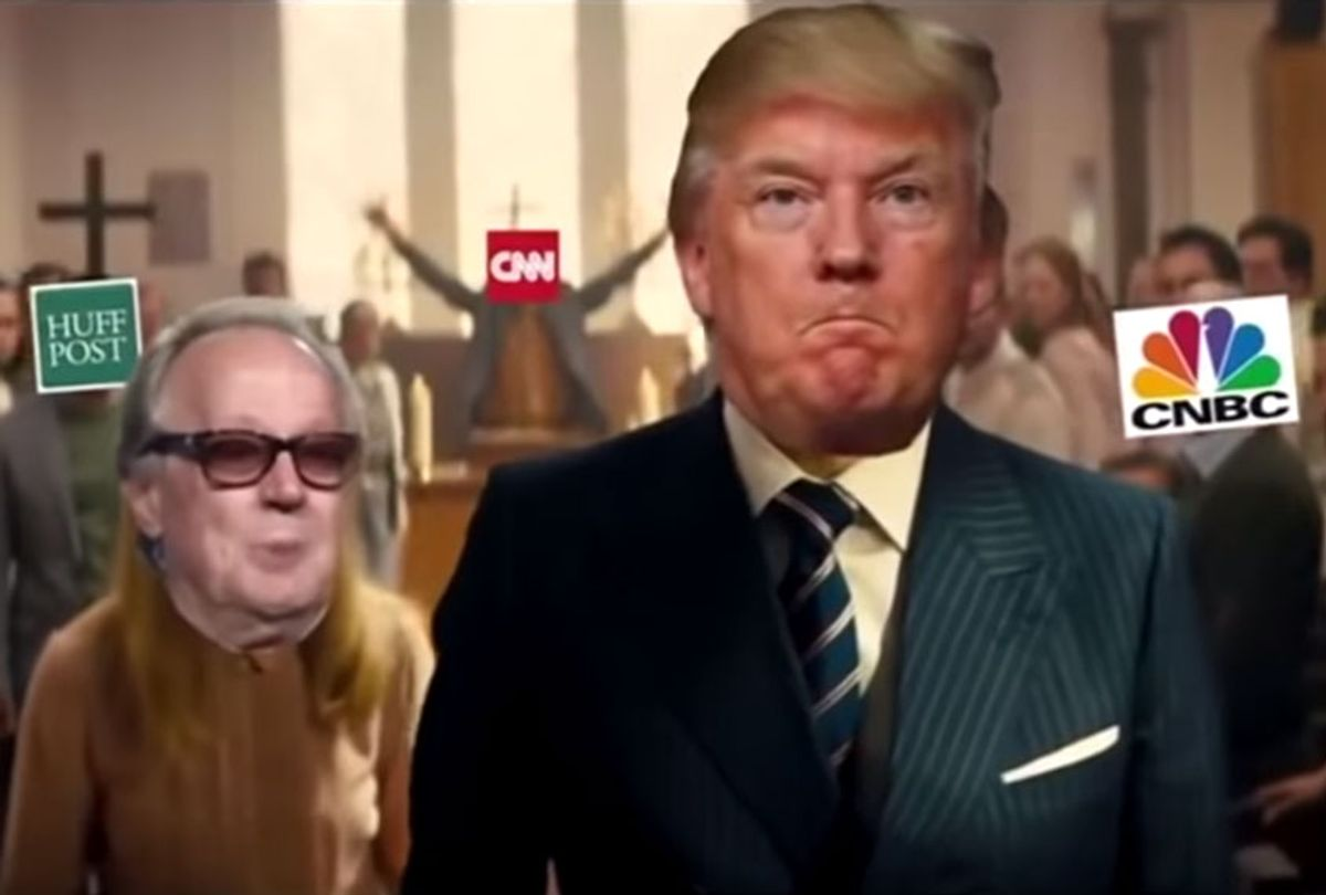 """Donald Trump and various media outlets/personalities superimposed onto a violent scene from """"Kingsmen"""" (CNN/Youtube)"""