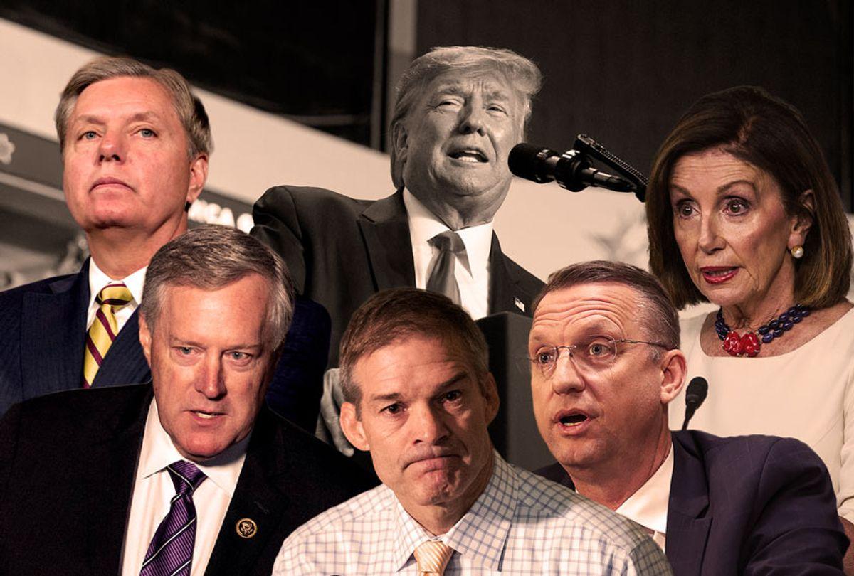 Donald Trump, Lindsey Graham, Nancy Pelosi, Jim Jordan, Doug Collins, and Mark Meadows (AP Photo/Getty Images/Salon)