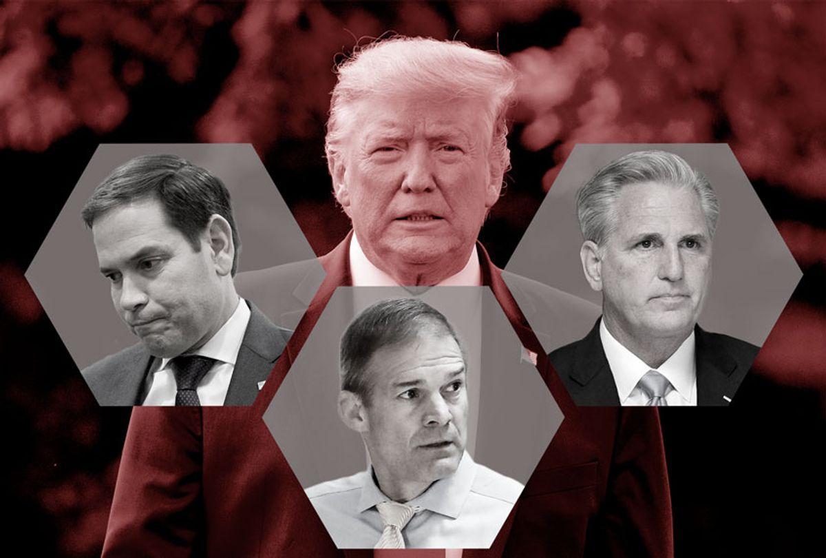 US President Donald Trump, Sen. Marco Rubio, Rep. Jim Jordan, and House Minority Leader Kevin McCarthy. (AP Photo/Andrew Harnik/Alex Brandon/Pablo Martinez Monsivais/Jacquelyn Martin)