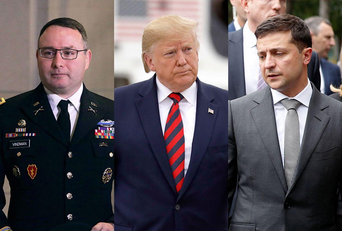 Army Lieutenant Colonel Alexander Vindman, US President Donald Trump, and Ukraine President Volodymyr Zelensky (AP Photo/Seth Wenig/Evan Vucci/Getty Images/Alex Wong)